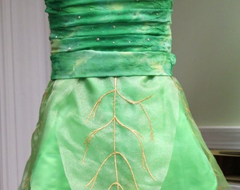 Tinkerbell Gathered Bodice Leaf Dress, Tinkerbelle inspired Costume, Pixie Friends, Princess Party, Performance Costume, Ladies Cosplay