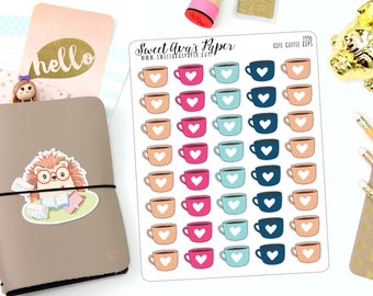 Coffee Cup Planner Stickers - Coffee Mug Planner Stickers - Coffee Planner Stickers - Mug Life - Coffee Icon Stickers - 1496