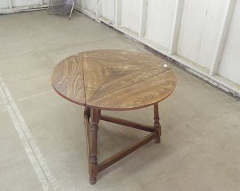 Round Corner Table with 3 Mini Drop Leaves