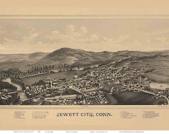 Jewett City Connecticut 1889 Birds Eye View CT Reprint