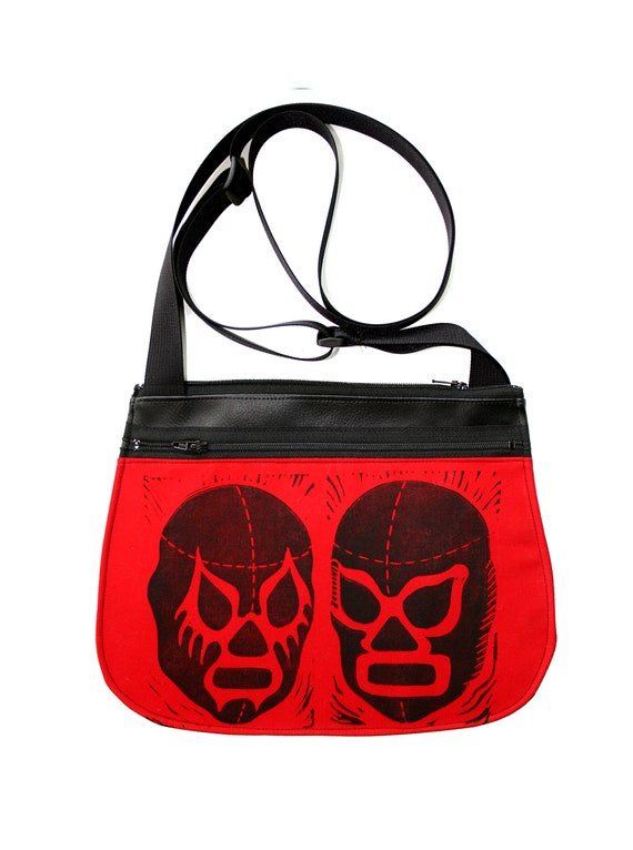 Luchadors, block print, red, black vinyl, cross body, vegan leather, zipper top