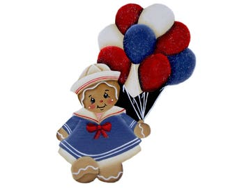 Sailor Ginger Girl, Gingerbread Girl, Gingerbread Fridge Magnet, Hand Painted, Summer Gingerbread Decor, Red White and Blue, Hand Made