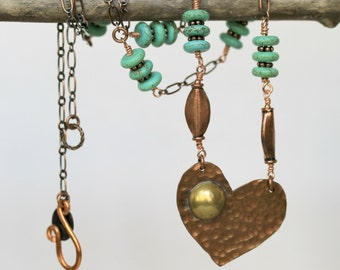 Mixed Metal Hand Forged Hammered Antiqued Copper Heart and Turquoise Pendant Necklace, Valentines Day, Mothers, Day, Heart Necklace