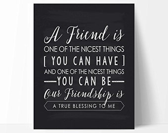 Friendship Quote Typography Chalkboard Style Print by Ocean Drop Designs, Unique Friendship Gift, Best Friend Gift, Gift For Her