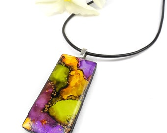 Purple, Yellow and Green Necklace, Hand Painted Alcohol Ink Pendant, Wearable Art Jewelry
