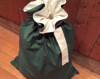 Christmas In July, Green & Gold Spots and Calico Quality Christmas Santa Sack, Hand Made, Large 54cm x 74cm, Fully Lined