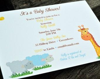 Baby Shower Jungle Invitation / Baby Shower Invite / Kids Jungle Invitation / Animal Invite / Baby Shower