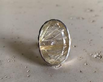 Rutilated Quartz Statement Ring- Gold Rutile Quartz Ring- Unique Gemstone Rings- Designer Bold Ring- Large Stone Minimalist Ring