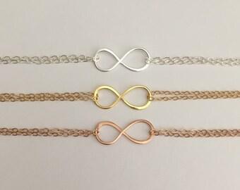 Infinity Bracelet. Sterling Silver Infinity. Rose Gold Infinity Bracelet. Gold Infinity Bracelet. Dainty Bridesmaid Bracelet. Friendship.