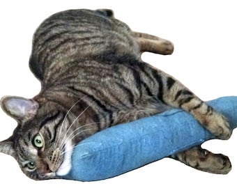 15 in. (Denim) Giant Catnip Kitty Kicker Toy W/Refillable Catnip Pocket / Kicker Filled with 1.25oz. Premium Canadian Catnip