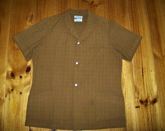 Rare Men's 1950s Vintage Brown Safari shirt - XX Large
