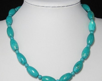 Natural olive Turquoise and 925 Silver 19 inch Necklace