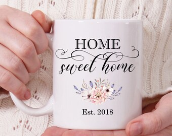 Home Sweet Home Coffee Mug, Housewarming Gift, Floral Coffee Mug, Custom Coffee Mug, Cute Mug, Coffee Mug for Mom, Tea Mug, Coffee Mug Gift