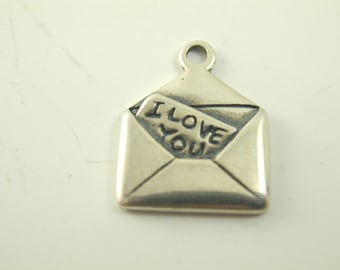 "Silver ""I LOVE YOU"" letter charm valentine card 1.9 grams"