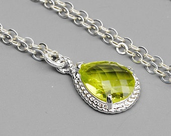 Apple Green Necklace - Green Bridesmaid Necklace - Silver Green Crystal Teardrop Pendant Necklace - Wedding Jewelry - Bridesmaid Jewelry