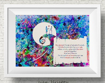 The Nightmare Before Christmas Colorful Quote 1 inspired, Jack and Sally, Quote, Watercolor print,Nursery art, Kids Room Decor,Poster, print