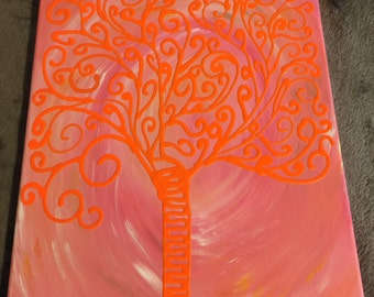 Acrylic Abstract Tree Painting  14X11