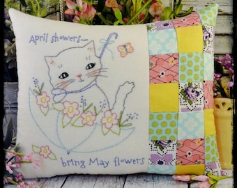 April showers kitty embroidery Pattern PDF - stitchery umbrella May shabby chic flower