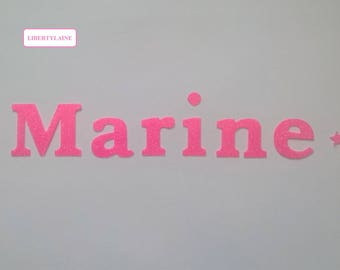 Applied interfacing name 6 letters (to customize) flex neon pink glitter