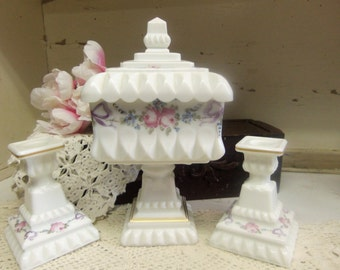 Vintage Westmoreland Milk Glass Roses and Bows Wedding Bowl and 2 Single Light Candleholders  B944