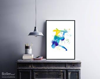 Digital Wall Art, Watercolor Print, Skateboard Print, Skateboard Art, Instant Download Printable Art, Girl Print, Extreme Sport Print, Blue