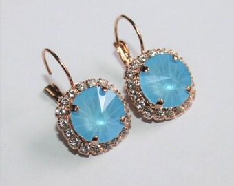 Blue Bridal Earring,Rose Gold Earrings,Gift,Blue Clusters,Swarovski® Summer Blue,Sapphire Earrings,Something Blue,Statement Luxury Jewelry