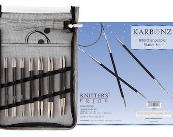 Knitter's Pride Karbonz Interchangeable Circular Knitting Needle Starter Set 5 Pairs #110601