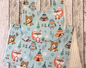 Little Indian Bib - Teepee Bib - Woodland Critters Gift Set - Unique Baby Gift - Baby Bib Burp Cloth - Personalized Baby Bib - Tribal Baby