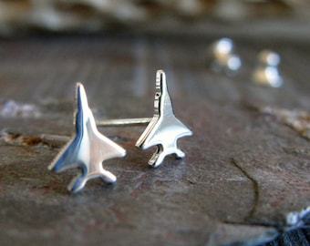 Jet fighter stud earrings. Air Force jewelry. Tiny little sterling silver, 14k gold filled or solid 14k gold posts. Military wife. For her.