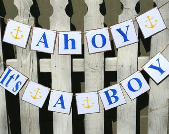 Ahoy It's A Boy Banner Nautical Garland With Yellow Anchors Banner Blue Nursery Garland Baby Shower Banner