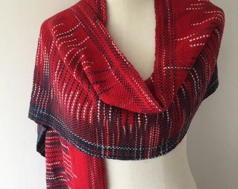 Let's be friends #3 Handwoven Scarf (red)