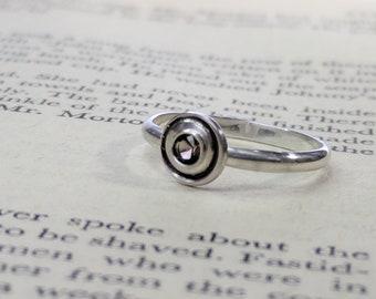 Smokey Quartz Orbit Ring, Solitaire Ring, Faceted Disc Ring, Faceted Gem Stone, Faceted Gems, Orbital Ring, Orbit Ring