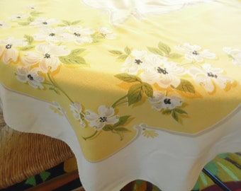 Vintage Flower Tablecloth - Yellow  Rectangle  - Dogwoods - 1960s