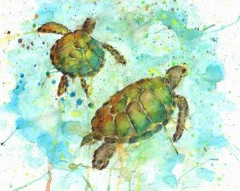 Watercolor Sea Turtle Giclee Print