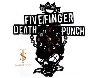 Five Fingers Death Punch Vinyl Clock ,Wall Vinyl Clock, Nursery Clock, Great Gift Idea , Vinyl Wall Clock, FFDP