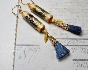 Boho Tassel Earrings, Gold & Black Earrings, Bohemian Jewelry, Exotic, Extra Long Earrings, Holiday Earrings, Statement Earrings, Wife Gift