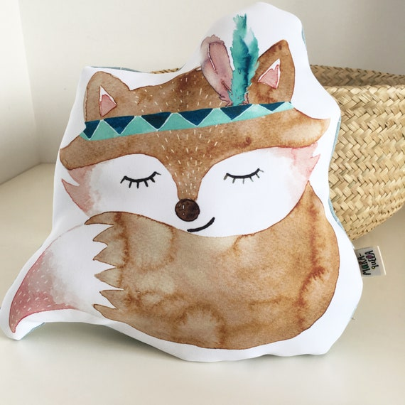 Cojín ZORRO INDIO con plumas / FOX Throw Pillow, Indian Style