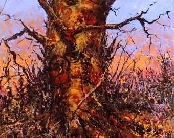 Original and Contemporary  Landscape Painting of a Rustic Tree  (#1) by Barry Baxter