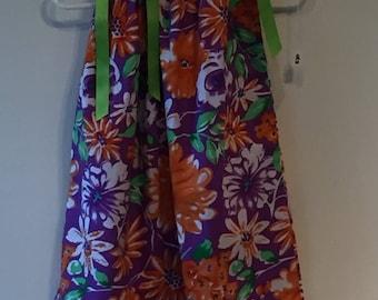 Orange Flower Pillowcase Dress- 24 months