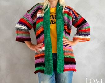 Chunky Cardigan Hand Knit Cardigan Long Cardigan Plus Size Clothing Colorful Oversized Sweater Chunky Knit Cardigan Girlfriend Gift for her