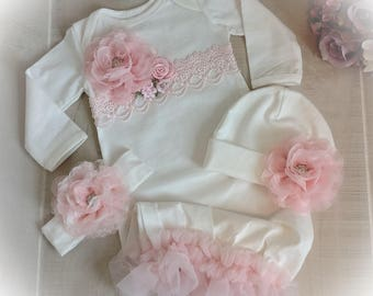 Newborn Girl Coming Home Gown, Baby Girl Outfit,Pink Coming Home Outfit, Baby Girl Take Home Outfit, Newborn Girl Layette