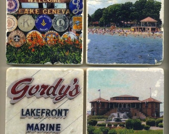 Lake Geneva Wisconsin Collection - 4 original coasters