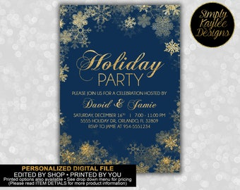 Blue and Gold Snowflake Holiday Party Invitation