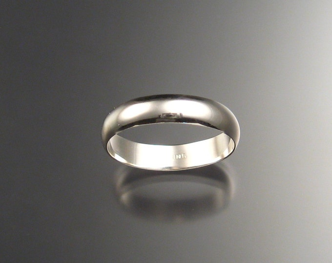 Sterling silver Wedding Ring band 4 mm x 1mm Smooth lightweight ring handmade to order in your size