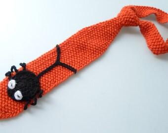 Halloween Tie, Hand Knitting , Spider, Teenage, Orange, Black, Horror