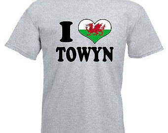 I love heart towyn wales adults mens t shirt 12 colours size s - 3xl