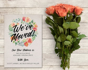 Printable We've Moved Announcement, 5x7 inch, Watercolor Floral Wreath,  Personalize, New Home, New Address, Flowers, Spring Flowers