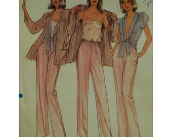 Evening Wear Pattern 4 Pieces, Camisole, Shawl Collar Tie Blouse, Jacket, Long Sleeves, Pockets, Pants, Vogue No.7844 UNCUT Size 10