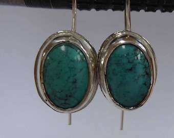 Turquoise and silver earrings long ear wires Boho artisan