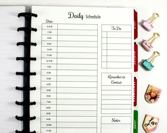 Digital Classic Happy Planner Daily Schedule, Classic Happy Planner Hourly Planner, Printable Planner Inserts, Daily Planner, To Do List